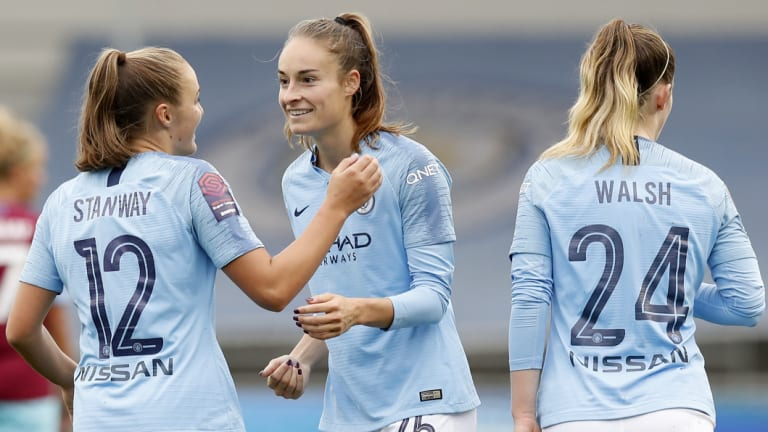 Controversial: Manchester City's women's team in action last month.