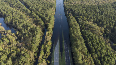 South Carolina Highway 22 is flooded.