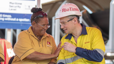 Rio Tinto chief executive Jean-Sebastien Jacques pictured on Friday with Florence Charger.