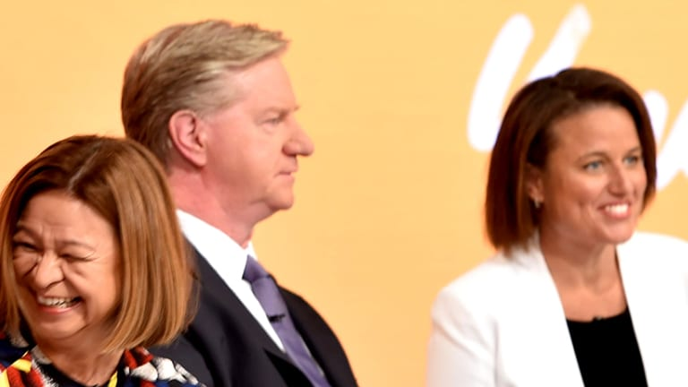 Kirstin Ferguson, right, at the first ABC public general meeting last month.