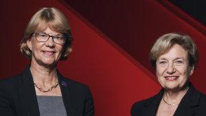 Coca-Cola Amatil CEO Alison Watkins (left) and chairman Ilana Atlas.