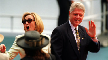 President Clinton and Hillary Clinton leave the stage at Mrs Macquarie's Chair, November 1996.