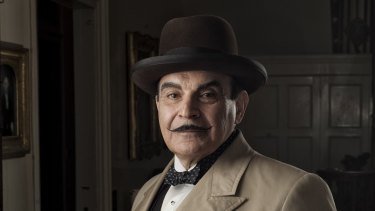 David Suchet as his much-loved character Hercule Poirot.