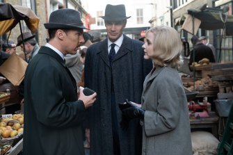 From left: Benedict Cumberbatch, Angus Wright and Rachel Brosnahan in The Courier.