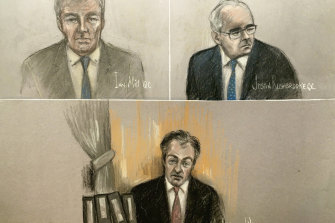 Court artist sketch depicting Ian Mill QC, top left, Justin Rushbrooke QC, top right, and Justice Warby at the Royal Courts of Justice in London.