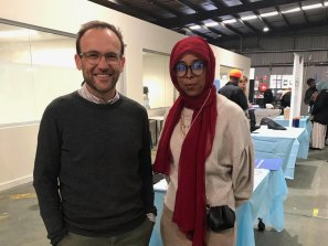 MP Adam Bandt with Cr Anab Mohamud in a photo posted on April 10.