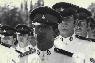The Crown Prince during the graduation parade at Duntroon in 1975.