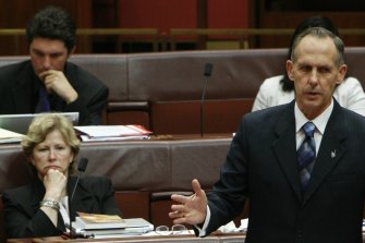 Greens leader Bob Brown arguing against the emissions scheme on December 2, 2009.