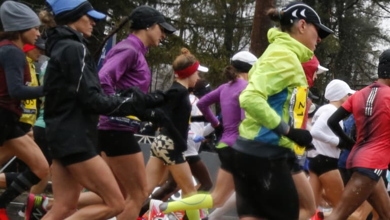 The elite women's pack in the early stages of the 2018 Boston Marathon.