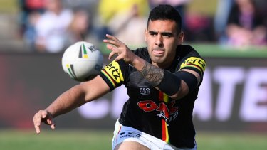 Stood down: Panthers playmaker Tyrone May handed himself in to police.