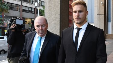 Legal fight: Jack De Belin arrives at the Federal Court on Thursday with his manager Steve Gillis.