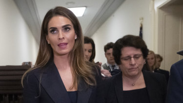 Former White House communications director Hope Hicks departs after a closed-door interview with the House Judiciary Committee on Capitol Hill in Washington.