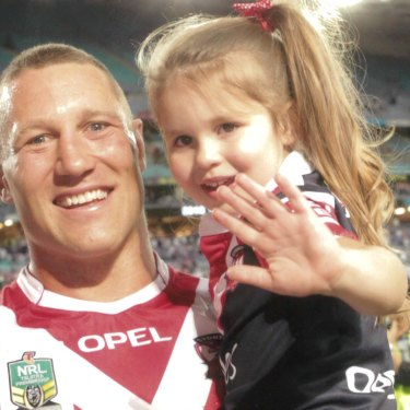 Going out on a high: a jubilant O'Donnell after the Roosters' 2013 NRL grand final win over Manly.  It was to be his last match.