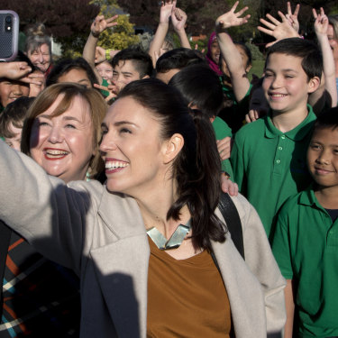 Ardern meets students at Addington School in Christchurch.