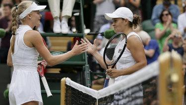 Dart congratulates Barty on her win.