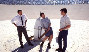 Audiences took to a film about radio telescope technicians: Sam Neill (left), Kevin Harrington and Tom Long in The Dish.