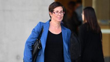 Kristen Westwood, a legal advisor to Tuhirangi-Thomas Tahiata, leaves the Supreme Court in Brisbane on Monday.