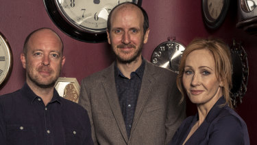 John Tiffany (left), director of Harry Potter and the Cursed Child, with writer Jack Thorne and author J.K. Rowling.