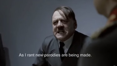 A still from one of a vast number of Hitler Downfall parodies, with actor Bruno Ganz in the lead role, on the internet.