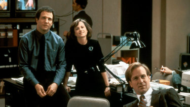 "Albert Brooks, Holly Hunter and William Hurt in 1987's Broadcast News, which redefined ""the Devil"" as an attractive, insidious promoter of ""flash over substance""."