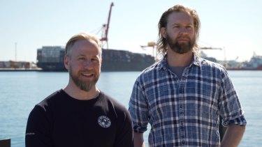 Outgoing Mawson Station Leader Matt Williams and outgoing Davis Station Leader David Knoff in Fremantle.