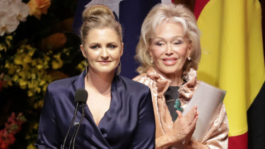Sophie Taylor-Price with Blanche d'Alpuget at the service on Friday.