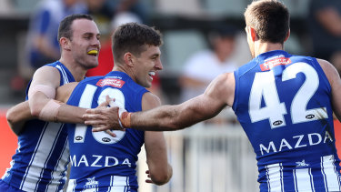 North Melbourne's Shaun Atley celebrates a goal against the Demons at Blundstone Arena.