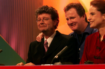 Red Symons, Russell Gilbert and Sigrid Thornton on the final episode in 1999.