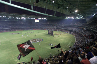 Fans pack the stadium for the opening night match between Essendon and Port Adelaide.