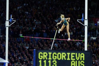 Grigorieva in action in the pole vault at the Games.