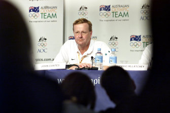 John Coates speaks during the Games.