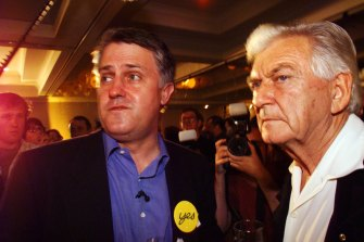 Bob Hawke and Malcolm Turnbull at the Republic party at the Marriot Hotel in Sydney digest the results.