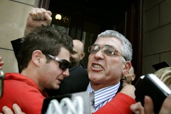 Mick Gatto walks free from the Supreme Court in 2005 after being acquitted of the murder of Andrew Veniamin.