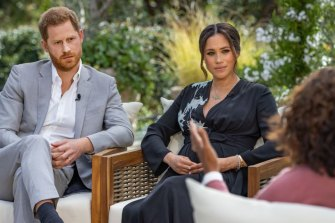 The Duke and Duchess of Sussex talk to Oprah Winfrey in March.
