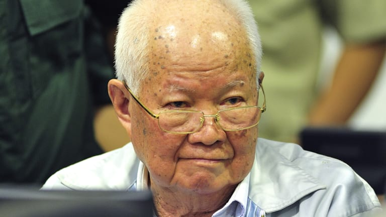 Khieu Samphan, former Khmer Rouge head of state in court.