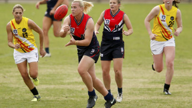 Hannah Mouncey on her VFLW debut.