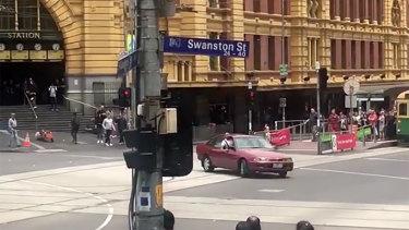 Gargasoulas drives in circles outside Flinders Street Station shortly before the Bourke Street massacre.