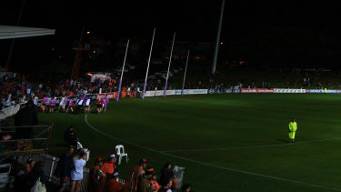 Lights out:  Drummoyne Oval was plunged into darkness when the power went in the second quarter.