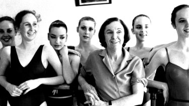 Joan Halliday, with pupils at the Halliday dance centre in 1983.