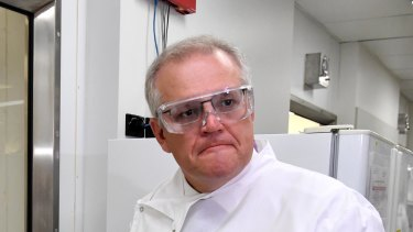 Prime Minister Scott Morrison at the University of Queensland. Medical research has been front and centre throughout the COVID-19 pandemic.