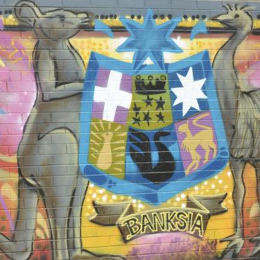 A mural inside the detention centre.