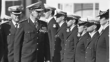 Mick Miller reviewing police graduates in August 1987 -  his last year as Chief Commissioner. Duty first.