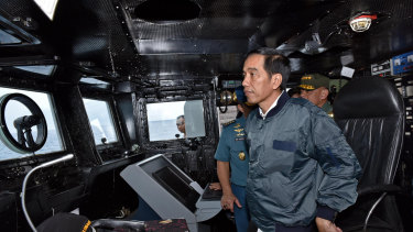 Indonesian President Joko Widodo, seen here on the way to the Natuna Islands in 2016, left for the area on Wednesday.