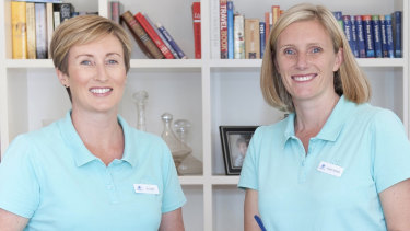 Jo Lister (L) and Kristen Adnams, founders of pre-moving cleaners Springtime Services.