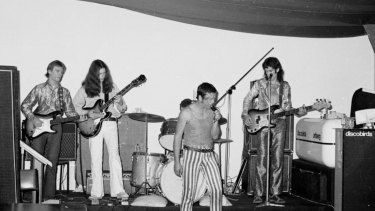 The original line-up of Skyhooks at one of their early gigs.