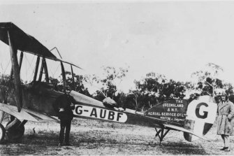 Hudson Fysh and engineer Arthur Baird with a BE2E, one of the first two planes bought by the Queensland and Northern Territory Aerial Service Co Ltd.
