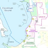 A map of the current outer harbour at Kwinana and areas in the Western Trade Coast. 1: Alcoa Alumina Refinery Jetty. 2: Kwinana Bulk Terminals. 3: BP's Oil Refinery Jetty. 4. Kwinana Bulk Jetty. 5. Kwinana Grain Jetty.