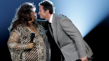 Aretha Franklin and Hugh Jackman on stage at the 2005 Tony Awards, Radio City Music Hall in New York.