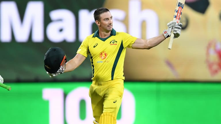 Centurian: Australia's Sean Marsh after notching up hit ton against South Africa in the deciding ODI match of the series.