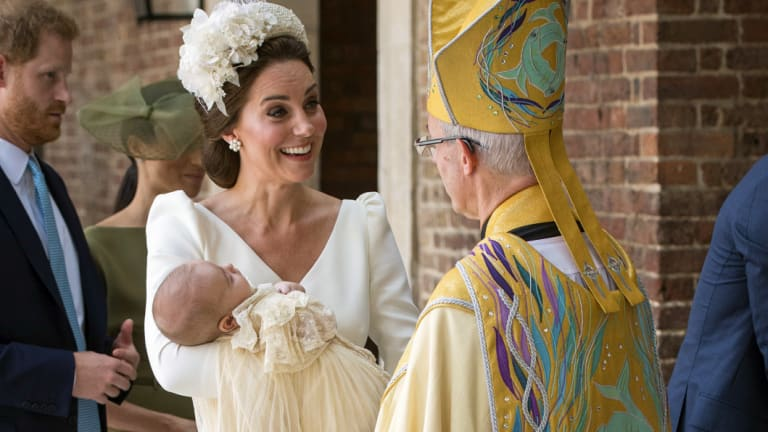 Kate, Duchess of Cambridge, speaks to Archbishop of Canterbury Justin Welby as she arrives carrying Prince Louis for his christening service at the Chapel Royal on Monday.